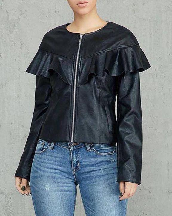 PU Leather Ruffle Trim Zip Front Slant Pocket Jacket gallery 3