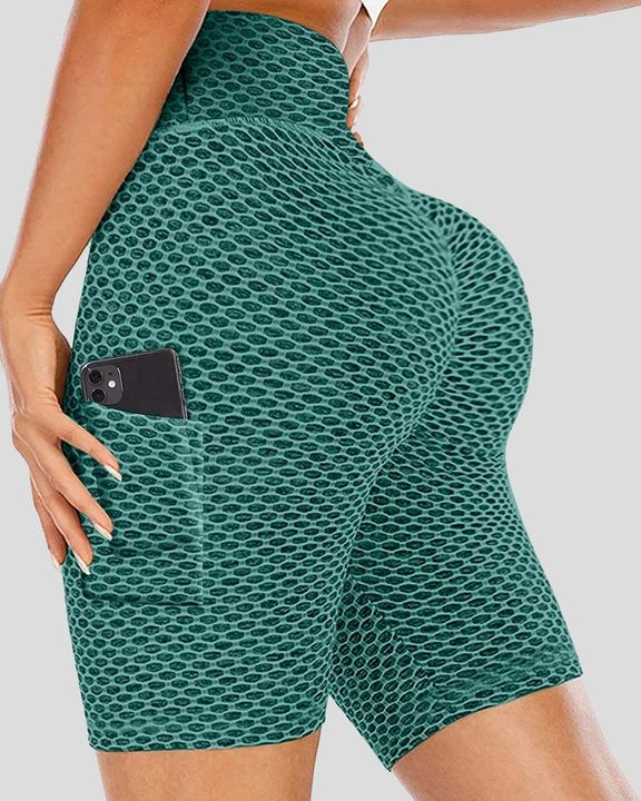Solid Textured Pocket Decor Butt Lifting Sports Shorts gallery 5