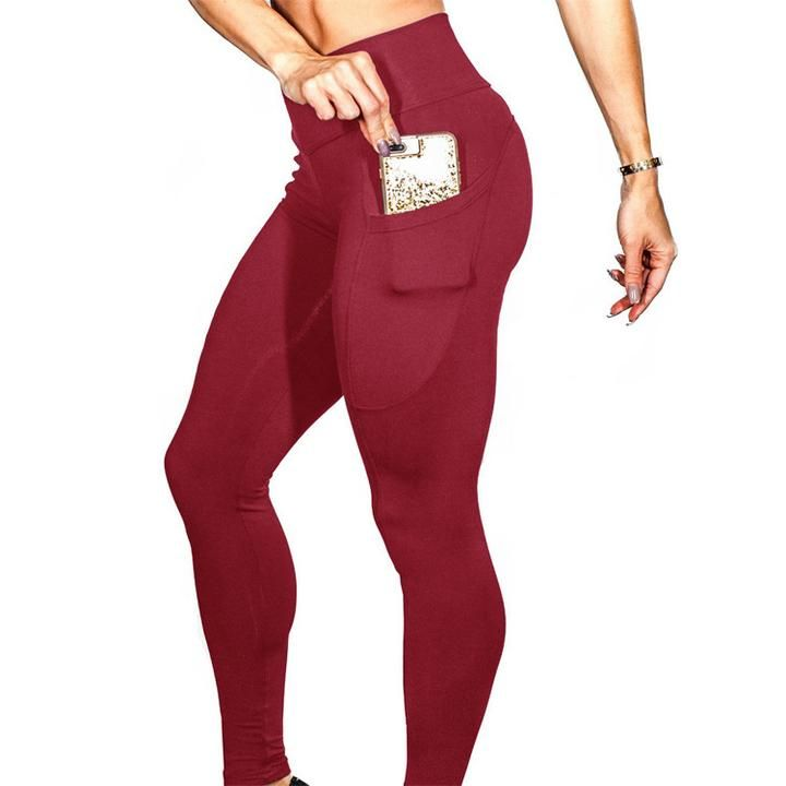Solid Side Pocket Butt-Lifting Sports Leggings gallery 4