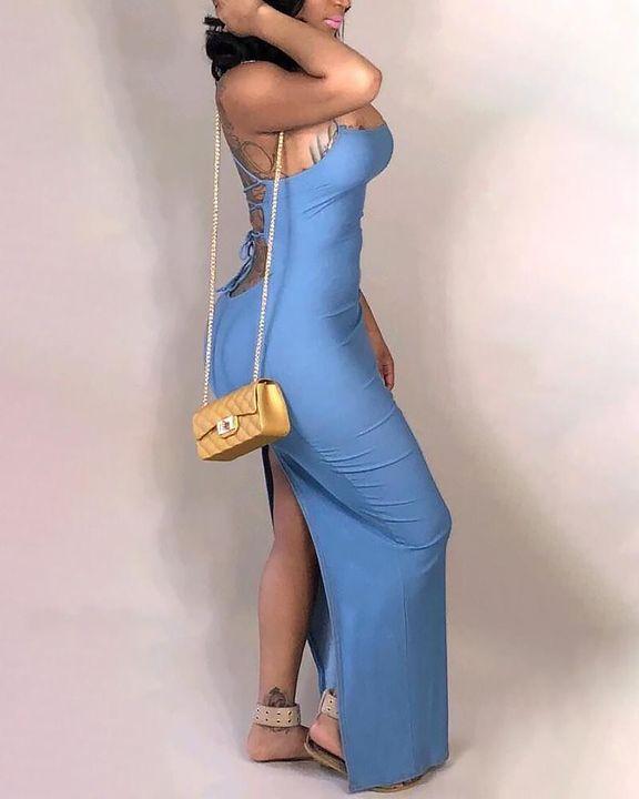 Split Thigh Criss Cross Lace Up Maxi Dress gallery 10