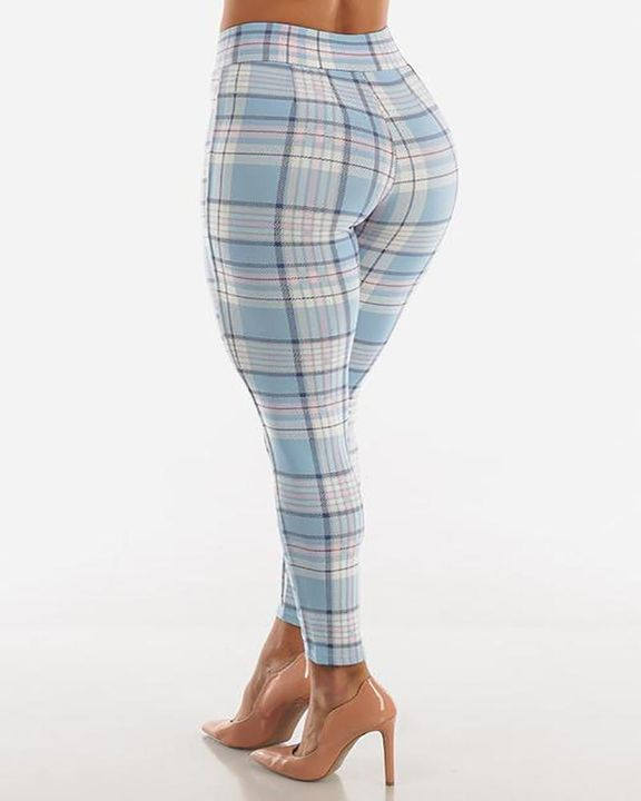 Plaid Print Wrap Waist Skinny Pants gallery 6
