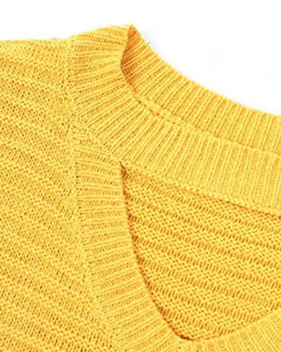 Keyhole Neck Drop Bishop Sleeve Sweater gallery 8