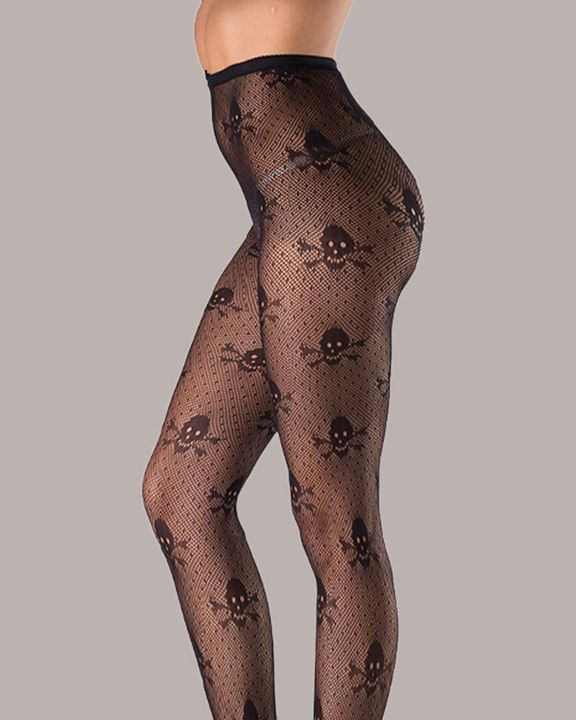 Skeleton Pattern Crotchless Stockings Without Panty gallery 2