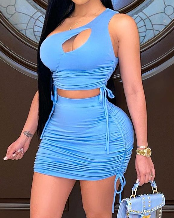 Cut Out Drawstring Side Ruched Top & Skirt Set gallery 1