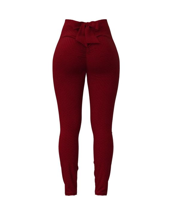 Bow Tie Back Textured Ruched Sports Leggings gallery 8