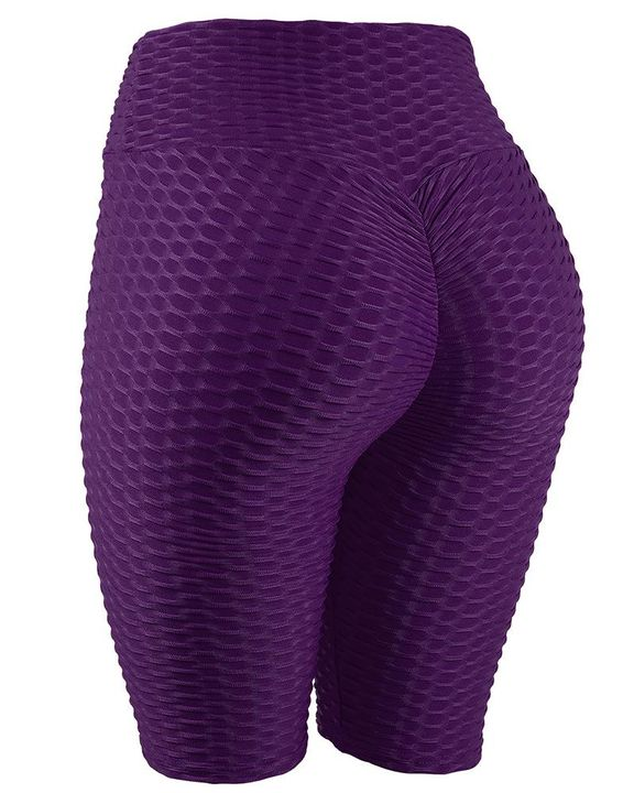High Waist Ruched Textured Sports Shorts gallery 4