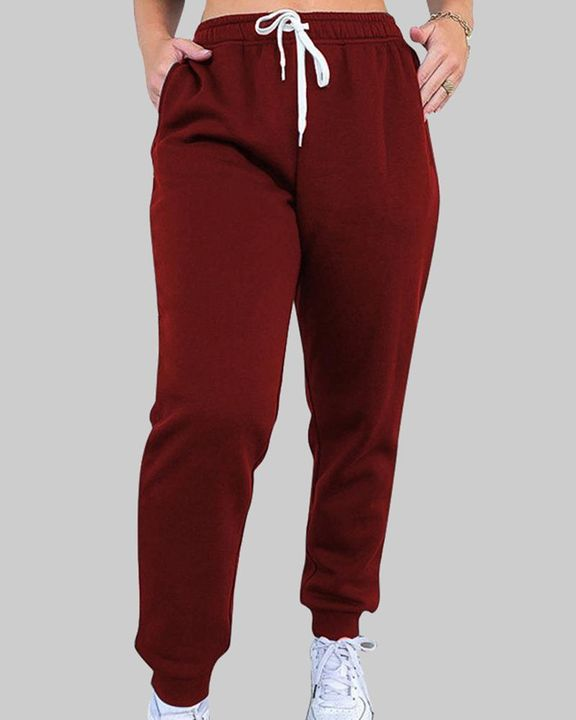 Drawstring Waist Thermal Lined High Waist Joggers gallery 3