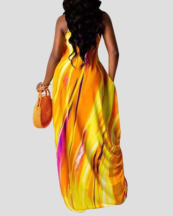 Allover Print Draped Asymmetrical Hem Cami Maxi Dress gallery 3