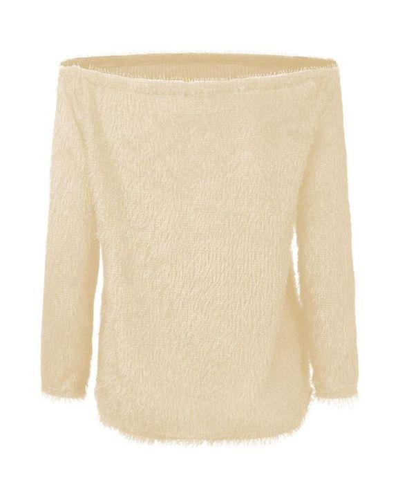 Popcorn Knit Off Shoulder Drop Shoulder Sweater gallery 6