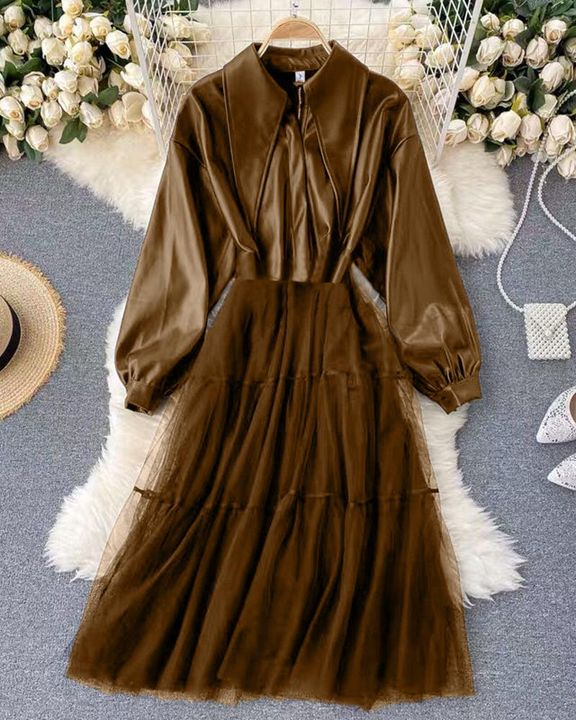 Solid PU Leather Sheer Mesh Pleated Coat gallery 5