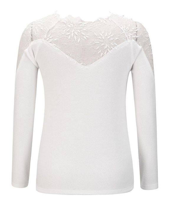 Floral Lace Beaded Decor Frill Trim Sweater gallery 4