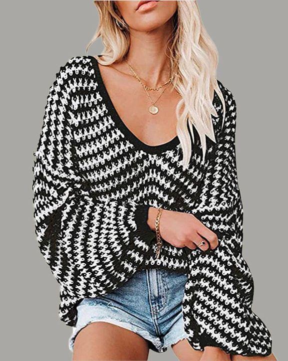 Striped Drop Shoulder Lantern Sleeve Sweater gallery 1