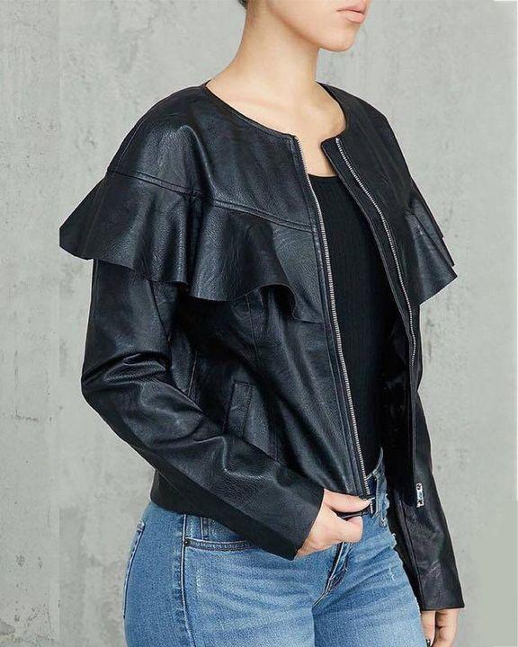 PU Leather Ruffle Trim Zip Front Slant Pocket Jacket gallery 2