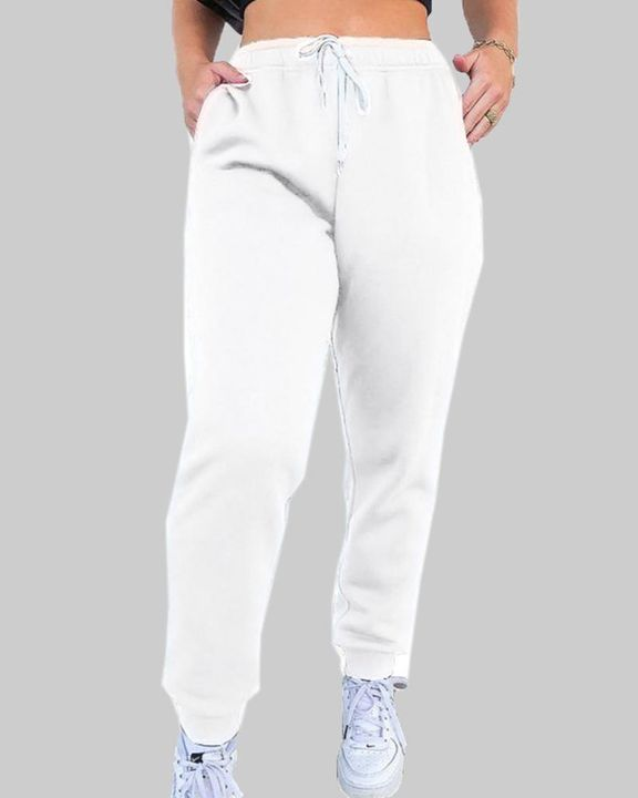 Drawstring Waist Thermal Lined High Waist Joggers gallery 5