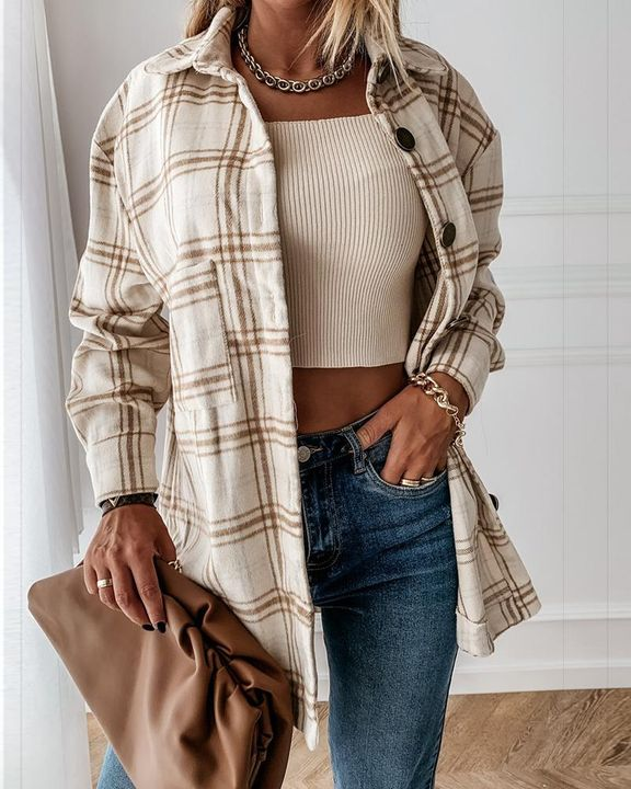 Plaid Print Patch Pocket Button Up Jacket gallery 9
