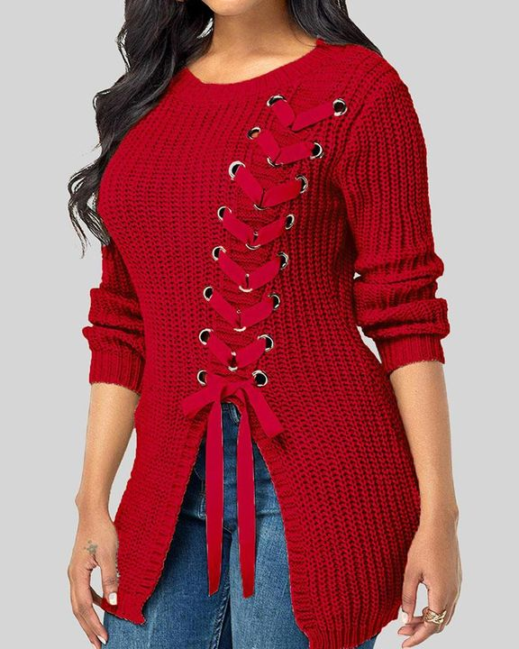 Chunky Knit Eyelet Lace Up Side Drop Shoulder Sweater gallery 1