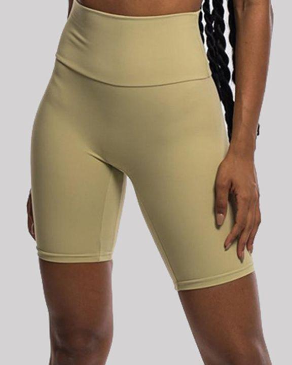 Solid High Waist Butt Lifting Sports Shorts gallery 4