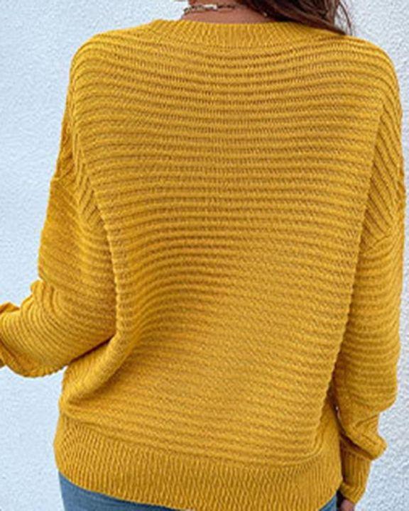 Keyhole Neck Drop Bishop Sleeve Sweater gallery 5