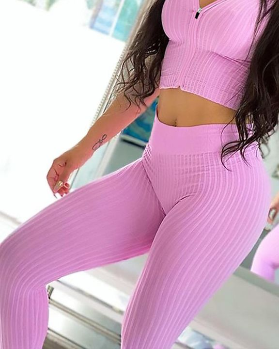 Ribbed Knit Butt Lifting High Waist Sports Leggings gallery 13