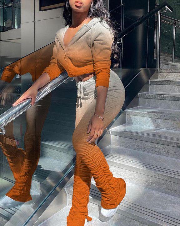 Ombre Ruched Split Hem Hooded Jacket & Pants Set gallery 5