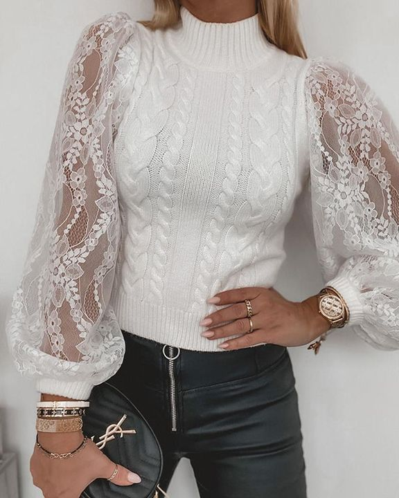 Floral Lace Trim Cable Knit Stand Collar Sweater gallery 3