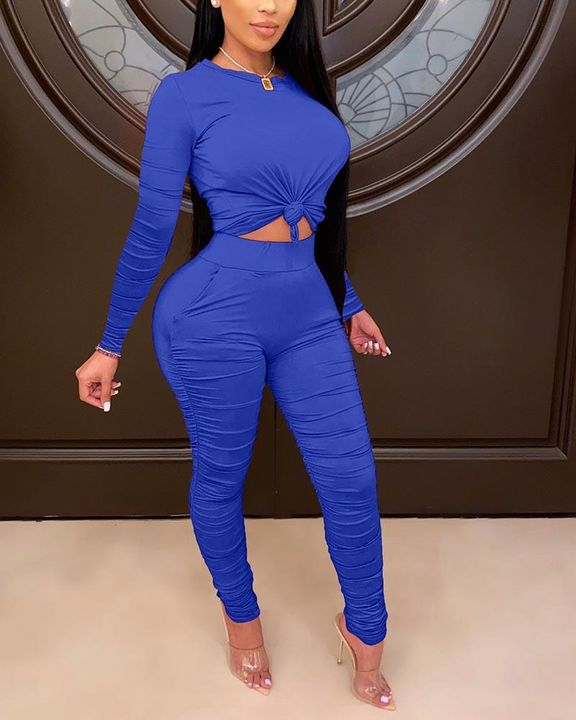 Solid Ruched Long Sleeve Top & Pants Set gallery 4