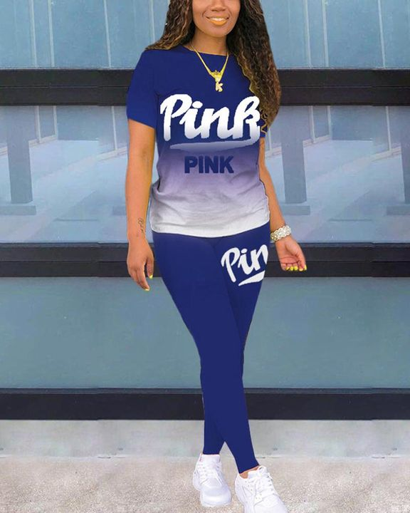 Letter Print Ombre Round Neck Top & Pants Set gallery 11