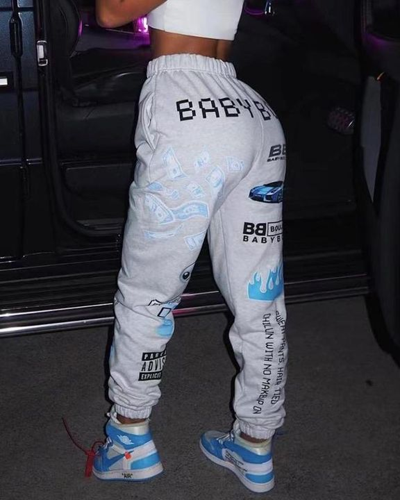 Letter & Graphic Print Dual Pocket Sports Pants gallery 3