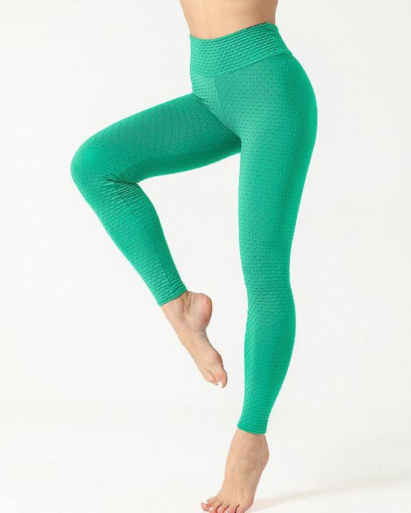 Solid Textured Scrunch Butt Absorbs Sweat Hip Lift Sports Leggings gallery 12