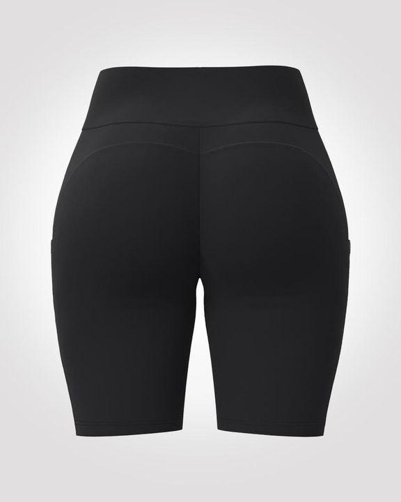 Solid Seamless High Waist Pocket Decor Sports Shorts  gallery 4