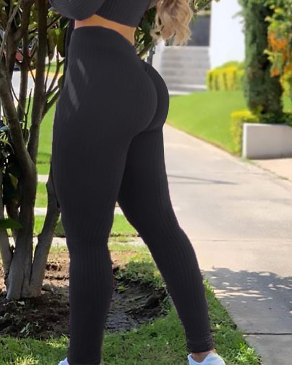 Ribbed Knit Butt Lifting High Waist Sports Leggings gallery 7