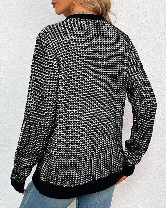Houndstooth Print Round Neck Sweater gallery 3