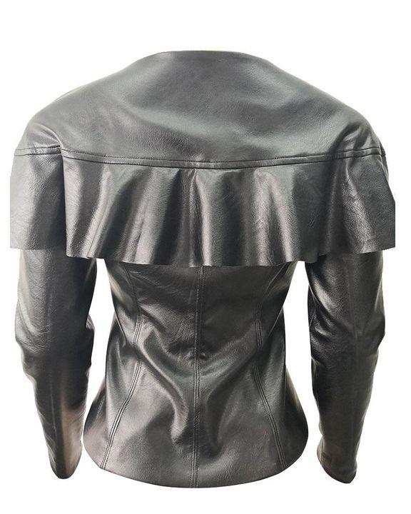 PU Leather Ruffle Trim Zip Front Slant Pocket Jacket gallery 5