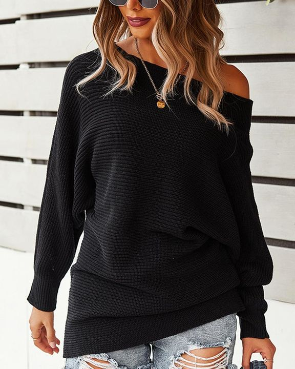 Solid Ribbed Knit Boat Neck Sweater gallery 2
