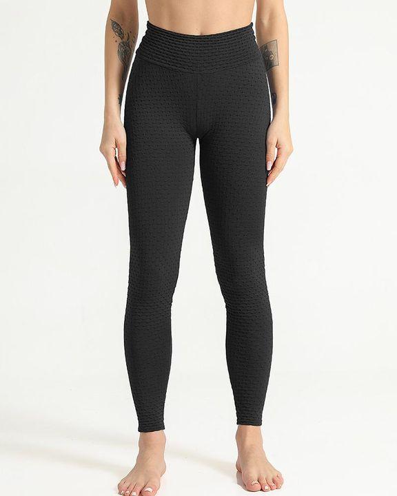 Solid Textured Scrunch Butt Absorbs Sweat Hip Lift Sports Leggings gallery 7