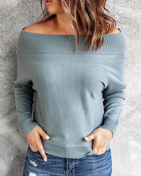 Boat Neck Ribbed Knit Sweater gallery 1