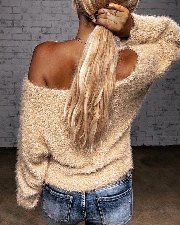 Popcorn Knit Off Shoulder Drop Shoulder Sweater gallery 4