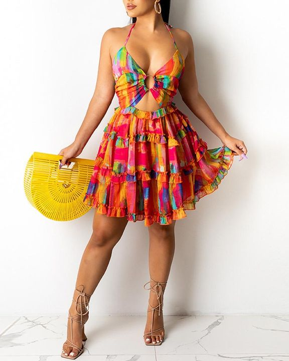 Allover Print Ring Linked Frill Trim Tie Back Mini Dress gallery 2