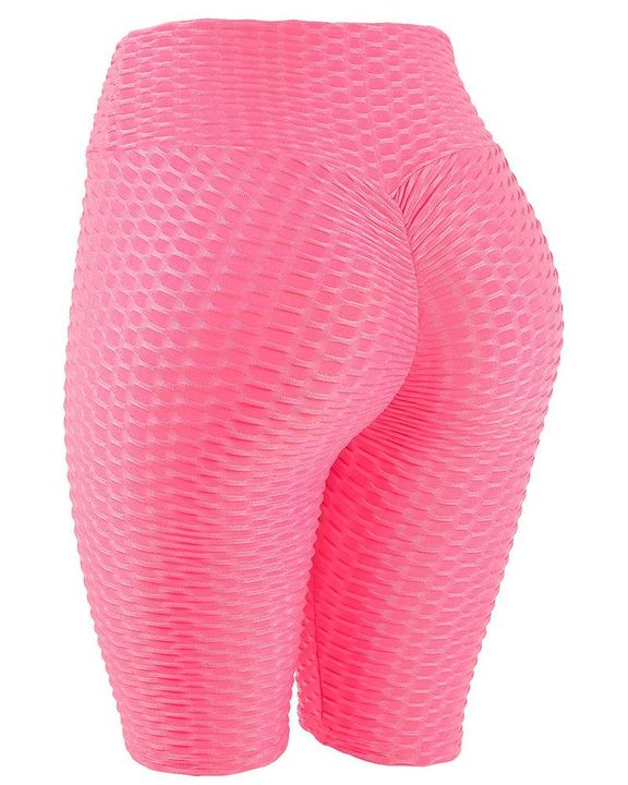 High Waist Ruched Textured Sports Shorts gallery 2