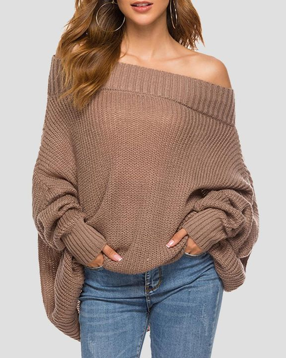 Chunky Knit Boat Neck Batwing Sleeve Sweater gallery 1