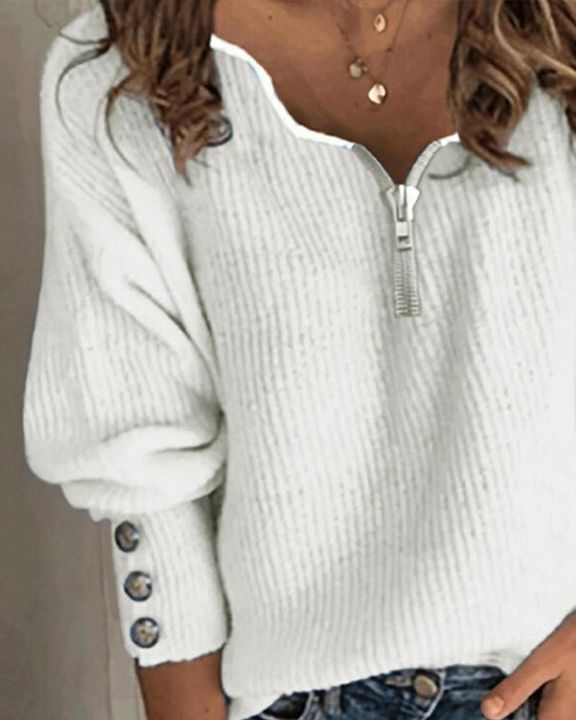 Half-Zip Ribbed Knit Button Decor Sweater  gallery 4