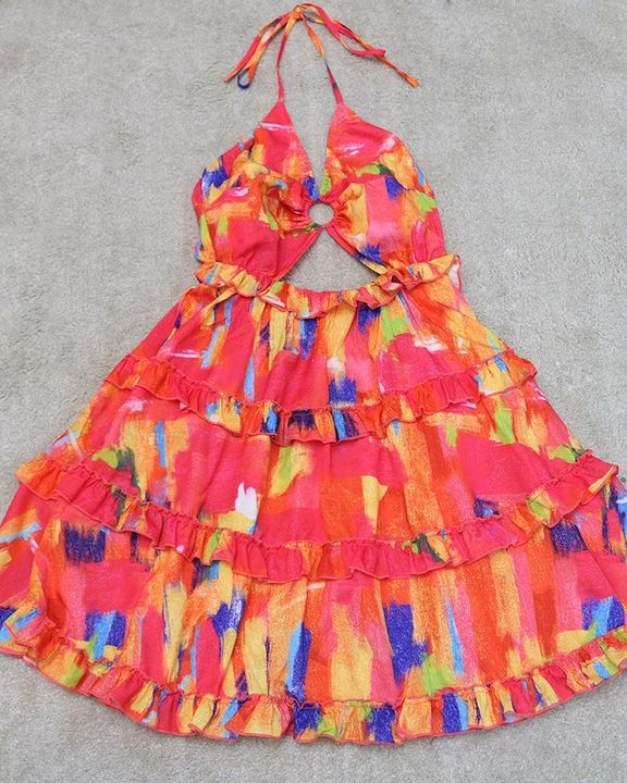 Allover Print Ring Linked Frill Trim Tie Back Mini Dress gallery 4