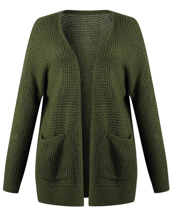 Solid Waffle Dual Pocket Front Cardigan gallery 9
