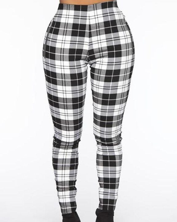 Plaid Print Zip-Pocket Side High Waist Pants gallery 1