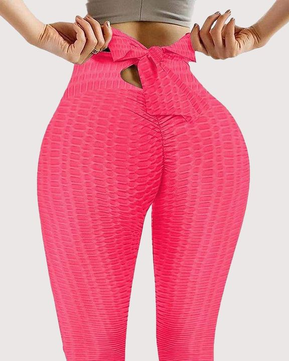Solid Textured Bow Back Cut Out Leggings gallery 3