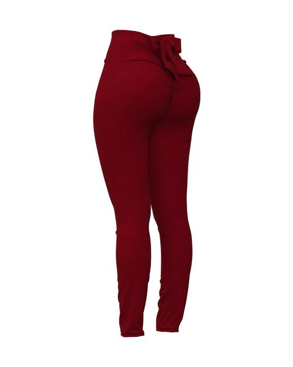 Bow Tie Back Textured Ruched Sports Leggings gallery 7