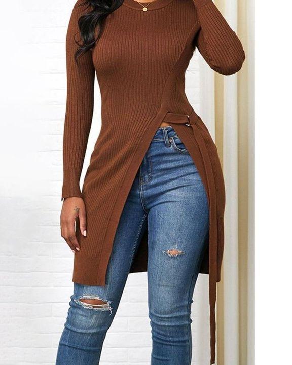 Solid Rib-Knit Tie Side Split Hem Sweater gallery 4