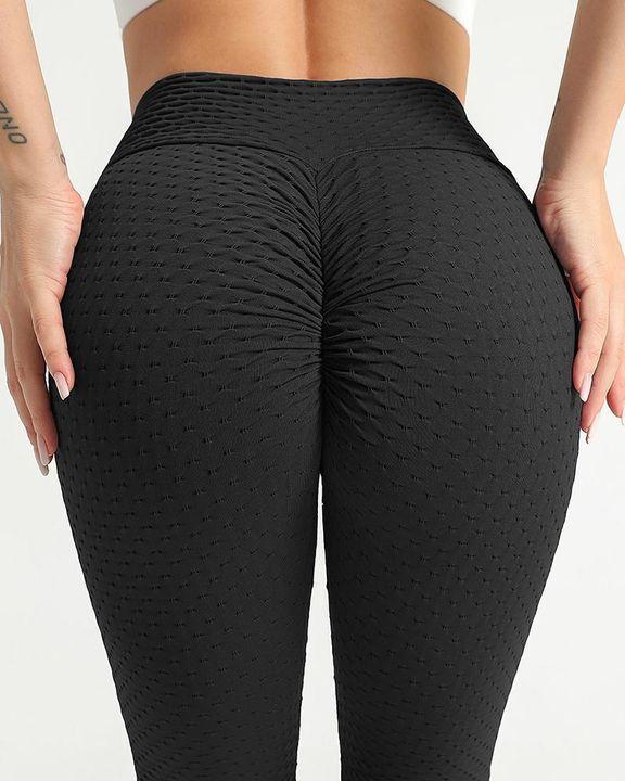 Solid Textured Scrunch Butt Absorbs Sweat Hip Lift Sports Leggings gallery 6