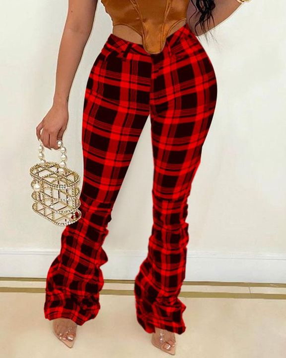 Plaid Print Stacked High Waist Flare Pants gallery 1