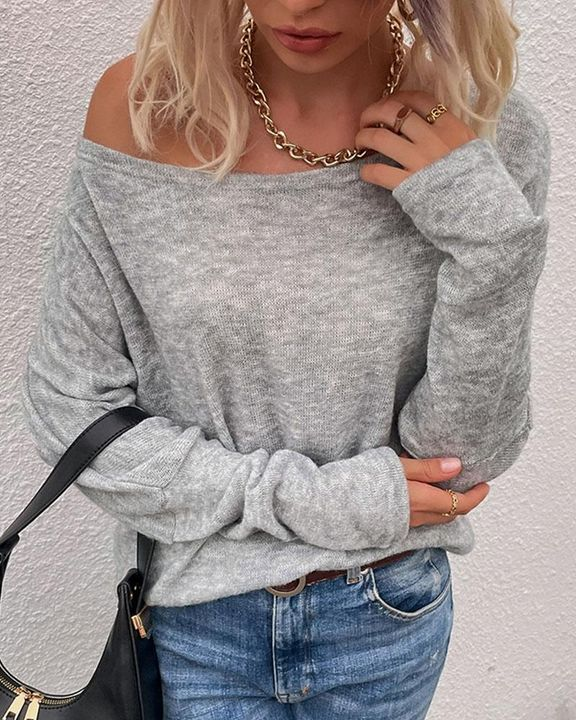Solid Long Sleeve Boat Neck Top gallery 2